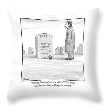 A Man Stands In Front Of A Woman's Tombstone Throw Pillow