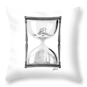 A Man Stands In The Top Half Of An Hourglass Throw Pillow