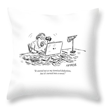 A Man Talking On The Phone Throw Pillow