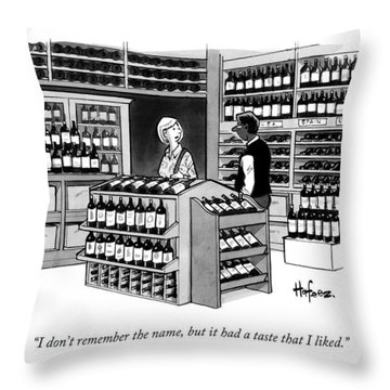 A Man Talking To An Employe At A Wine Store Throw Pillow