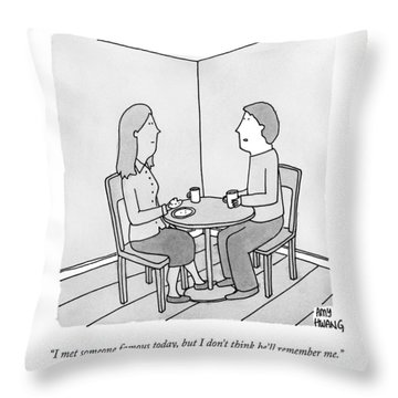 A Man Talks To His Wife Over Tea Throw Pillow