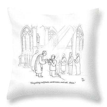 A Man To Priest As He Drinks The Wine Throw Pillow