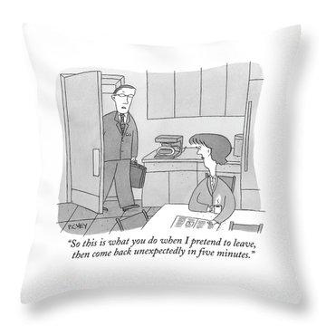 A Man Walks Into His Kitchen Throw Pillow
