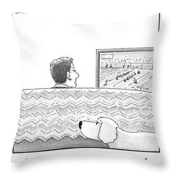 A Man Watches His Football Team Take Throw Pillow