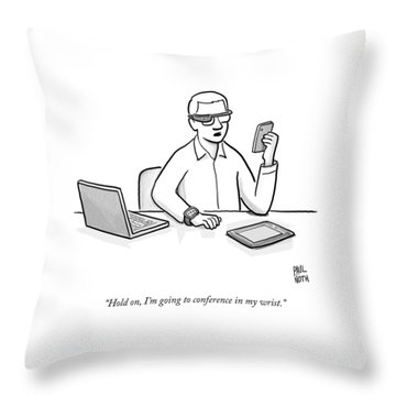 A Man Wearing Google Glasses Throw Pillow