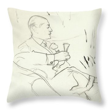A Man With A Glass Of Wine Throw Pillow