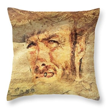 A Man With No Name Throw Pillow by Mo T