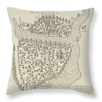 A Map Of Constantinople In 1422 Throw Pillow by Cristoforo Buondelmonti