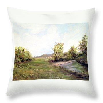 A Meadow Along The River Throw Pillow by Dorothy Maier