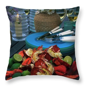 A Meal With Lobster And Limes Throw Pillow