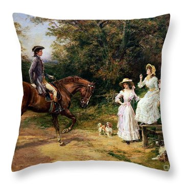 A Meeting By A Stile  Throw Pillow by Heywood Hardy