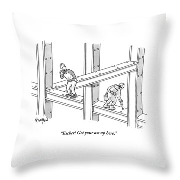 A Men Works On The Sky Scraper  Beams Throw Pillow by Robert Leighton