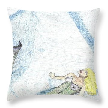 Throw Pillow featuring the drawing A Mermaids Moment by Kim Pate
