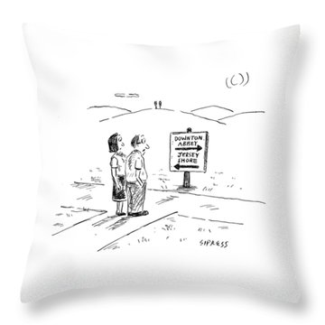 A Middle-aged Couple Stand At A Road Sign Throw Pillow