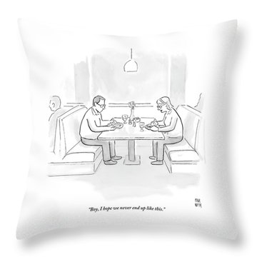 A Middle Aged Woman Tells Her Husband Throw Pillow