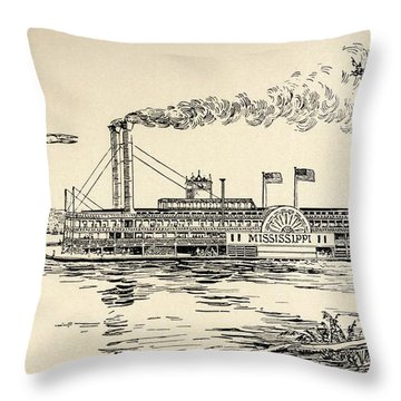 A Mississippi Steamer Off St Louis From American Notes By Charles Dickens  Throw Pillow by EH Fitchew