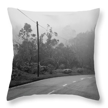 A Misty Country Road Throw Pillow