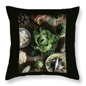 A Mixed Variety Of Food And Ceramic Imitations Throw Pillow by Fotiades