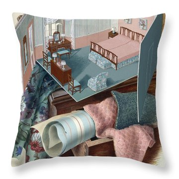 A Model Of A Bedroom On Top Of A Set Of Drawers Throw Pillow