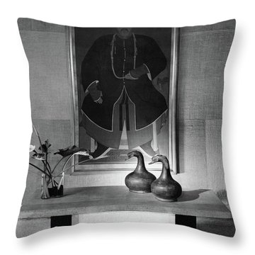 A Modern Table With An Oriental Painting Throw Pillow