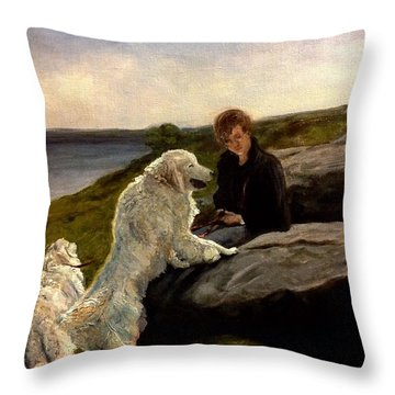 Throw Pillow featuring the painting A Moment Of Repose With The Magnificent Dogs by J Reynolds Dail