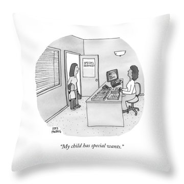 A Mother Brings Her Son Into A Room Labeled Throw Pillow