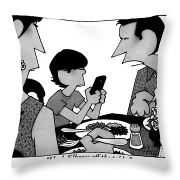 A Mother, Father And Son At Family Dinner Throw Pillow