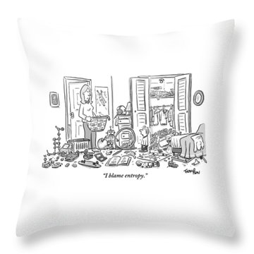 A Mother Stands Angrily In The Doorway Throw Pillow