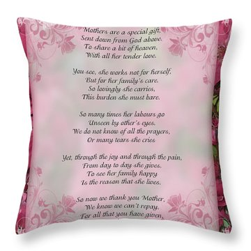 A Mother's Love  8x10 Format Throw Pillow by Debbie Portwood