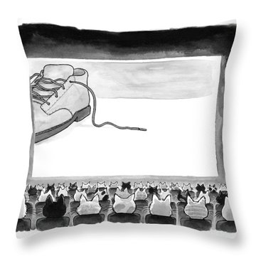 A Movie Theater Audience Of All Cats Watches Throw Pillow