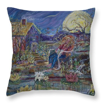 Throw Pillow featuring the painting A Nap By The Lily Pond by Avonelle Kelsey