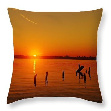 A New Day Dawns... Over Dock Remains Throw Pillow