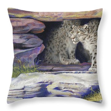 A New Day - Snow Leopards Throw Pillow by Tracy L Teeter