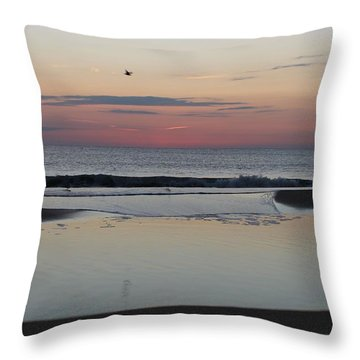 Throw Pillow featuring the photograph A One Seagull Sunrise by Robert Banach