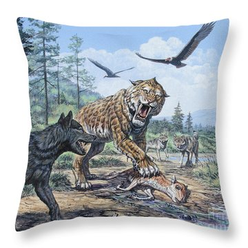 A Pack Of Canis Dirus Wolves Approach Throw Pillow