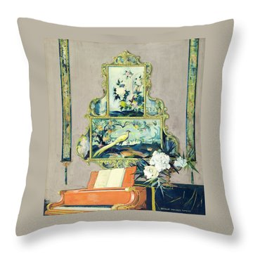 A Painting Of A House Interior Throw Pillow