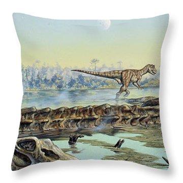 A Pair Of Allosaurus Dinosaurs Explore Throw Pillow