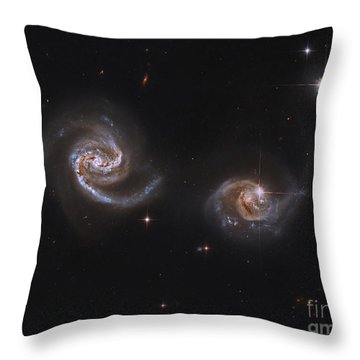 A Pair Of Interacting Spiral Galaxies Throw Pillow by Roberto Colombari