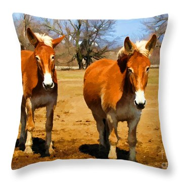 A Pair Of Mules  Digital Paint Throw Pillow by Debbie Portwood
