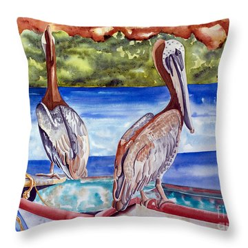 A Pair Of Pelicans Throw Pillow