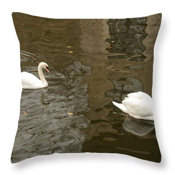 Throw Pillow featuring the photograph A Pair Of Swans Bruges Belgium by Imran Ahmed