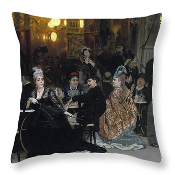 A Parisian Cafe Throw Pillow by Ilya Efimovich Repin