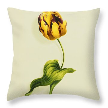 A Parrot Tulip Throw Pillow by James Holland