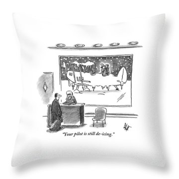 A Passenger Watches An Airplane In The Freezing Throw Pillow