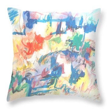 A Pastoral Abstract Throw Pillow by Esther Newman-Cohen