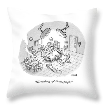 A Patient Sleeps In A Hospital Room Throw Pillow