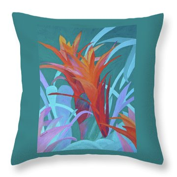 A Pattern Of Bromeliads Throw Pillow