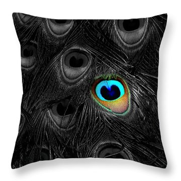 A Peacock Feather Throw Pillow by Mike Nellums