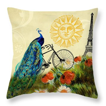 A Peacock In Paris Throw Pillow by Peggy Collins