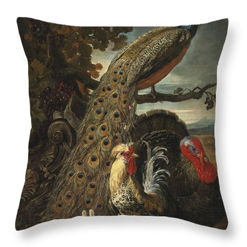 A Peacock Turkey Rabbits And Cockerel In A Landscape Throw Pillow